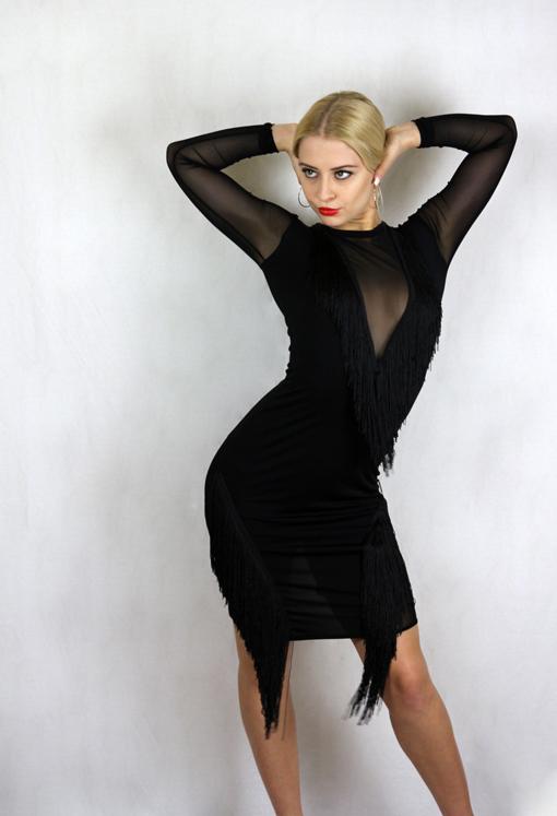 f61b3746391c3 Black slim fit fringe outline dress Latin – Srdjan Custom Made Costumes And  Dance Dresses